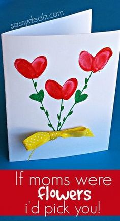 "Use your kids fingerprints to make this adorable Mother's Day card. Add the quote ""If moms were flowers, i'd pick you!"" on the front or inside of the card. #kidscraft"