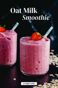 Try this tasty oat milk smoothie recipe, customizable for any fruit! It's one of the best plant based milks for blending into smoothies. | breakfast ideas | healthy smoothies | healthy snacks | vegetarian recipes | vegan recipes | plant based recipes | dairy free recipes | gluten free recipes | #oatmilk #oatmilksmoothie #smoothie #smoothierecipe Healthy Food Options, Healthy Dessert Recipes, Healthy Snacks, Healthy Fruits, Healthy Eating, Vegan Recipes Plant Based, Dairy Free Recipes, Milk Smoothie Recipes, Smoothie Bowl