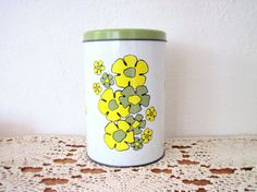 Vintage Ballonoff Tin - Retro Daisy Flowers Green - Kitchen Canister