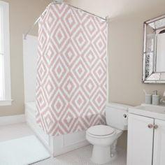 Blush Mauve White Ikat Square Mosaic Pattern Shower Curtain - retro gifts style cyo diy special idea