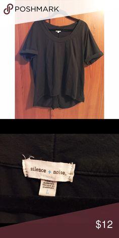 Silence + Noise black top Silence + Noise (Urban Outfitters) cotton black top silence + noise Tops Blouses