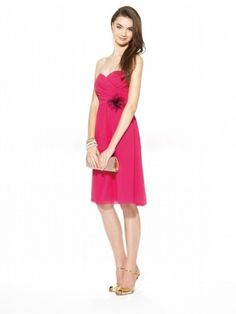 A-line Sweetheart Ruffles Sleeveless Knee-length Chiffon Bridesmaid Dresses