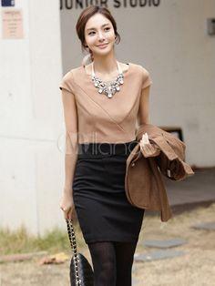72d01d8cb #Milanoo.com Ltd #Mini Dresses #Sweet #Brown #Cotton #Two