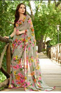 Beautiful grey gorgette floral saree