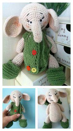 Free Crochet Elephant Pattern & many amigurumi elephant idea... Crochet Elephant Pattern, Crochet Motif, Free Crochet, Crochet Patterns, Crochet Hats, Step By Step Crochet, Learn To Crochet, Free Pattern, Dinosaur Stuffed Animal
