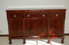 Large Antique Period American Empire Sideboard Flaming Mahogany 6ft. Ca 1840