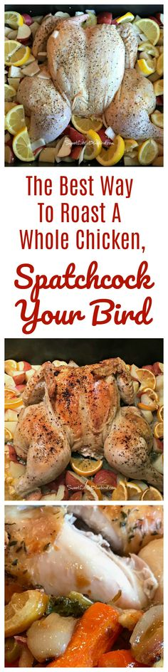 SPATCHCOCKED CHICKEN - also known as butterflied chicken – The fastest way to roast a whole chicken that is tender, moist, juicy, absolutely delicious and on the table in about an hour. Gourmet Chicken, Cooking Whole Chicken, Chicken Recipes, Chicken Meals, Cookbook Recipes, Cooking Recipes, Healthy Recipes, Funeral Food, Turkey Dishes