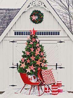 Love this outdoor Christmas tree scene