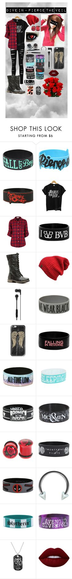 """Dive In - Pierce The Veil"" by mychemicalbandoms ❤ liked on Polyvore featuring Skullcandy, Casetify, Lime Crime and H.I.P."