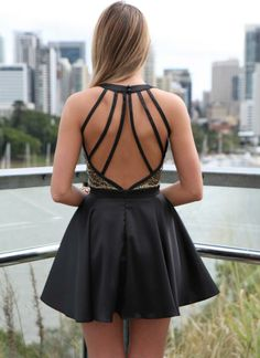 Black Sequin Dress - Black Lattice Back Dress with | UsTrendy