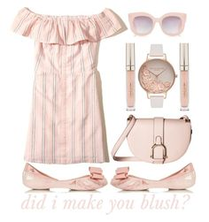 """""""did i make you blush?  Striped Short Dress  (3)"""" by queenrachietemplateaddict ❤ liked on Polyvore featuring Hollister Co., Sam Edelman, Melissa, Olivia Burton and Stila"""