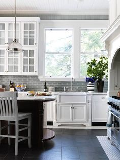 kitchen with gray subway tiles  transitional  kitchen