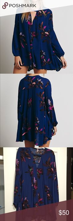 Free People Electric Orchid Print Swing Tunic Size small. Only worn once. Perfect condition. Free People Dresses Mini