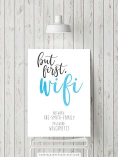 But first wifi guest room sign - watercolor typography art print for your office or guest room.Add your wifi internet username and password and print it for your home wall by Amistyle  Art Studio on Etsy