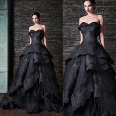 8ed4f198dc88 Beautifully Detailed Black Lace Edged Gothic Wedding Dress. Custom Colors  Available