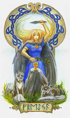 "In Norse mythology, Freyja (the ""Lady"") is a goddess associated with love, beauty, fertility, gold, seiðr, war, & death. She is the owner of the necklace Brísingamen, rides a chariot driven by two cats, owns the boar Hildisvíni, possesses a cloak of falcon feathers, &, by her husband Óðr, is the mother of two daughters, Hnoss & Gersemi. Along with her brother Freyr (Old Norse the ""Lord""), her father Njörðr, & her mother (Njörðr's sister, unnamed in sources), she is a member of the Vanir."