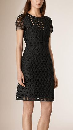 Black Hand-woven Taped Shift Dress - Image 1