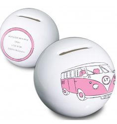 Pink Camper Van Money Box   Moneyboxes   Exclusively Personal Gifts For Women, Gifts For Her, Personalised Gifts For Him, Money Box, Camper Van, Piggy Bank, Pink, Yellow, Blue