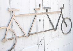 "I'm loving these for the bike floor. Is there room anywere? Bicycle Wall Art, Sculpture Art Object, Tandem Bike Wall Decor, Modern Metal Steel Industrial Office Wall Art  54"" long x  22""  tall"
