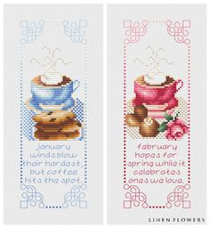Coffee & Treats Monthly Bellpull Series (January And February)- #190 (c) 2012 Angie Kowalsky/Linen Flowers Designs *Chart Download For Personal License Only- Not For Resale Or Sharing. http://linenflowers.com/190lf.htm