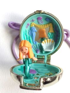 Rare Vintage Polly Pocket Seashine Mermaid Necklace Locket. 1 Doll Figure. 100%. | eBay