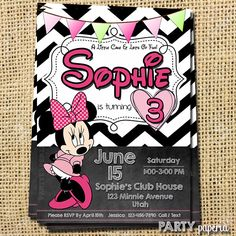 A personal favorite from my Etsy shop https://www.etsy.com/listing/228096895/minnie-mouse-inspired-invitation-minnie