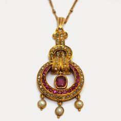 Ruby, diamond and pearl pendant. Art Deco French. Offered by Boris Sosna at Grays.