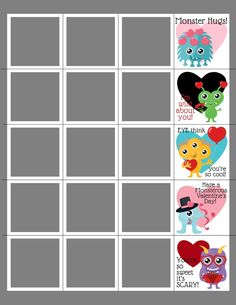 """""""MONSTERS"""" VALENTINE STRIPS PHOTOSHOP TEMPLATE Box Design Templates, Psd Templates, Valentines Day Card Templates, Custom Cards, Word Art, Monsters, Photoshop, Clip Art, Kids Rugs"""