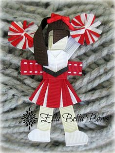 Cheerleader Ribbon Sculpture Hair Clip McPhillips McPhillips Depuy I think I found Caroline's bow for April! Ribbon Hair Clips, Ribbon Art, Ribbon Hair Bows, Diy Hair Bows, Ribbon Crafts, Diy Ribbon, Flower Crafts, Cheer Hair Bows, Ribbon Sculpture