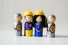 Royal king, queen and knights peg doll