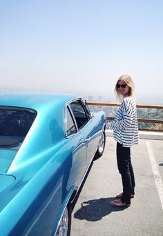 Blue stripes-love the outfit (and the blue car) http://www.amazon.com/The-Reverse-Commute-ebook/dp/B009V544VQ/ref=tmm_kin_title_0