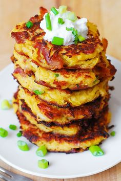 Bacon spaghetti squash fritters! Substitute coconut flour, and a touch of (coconut milk to soften) to make them #Paleo #Low-Carb & #Gluten-Free