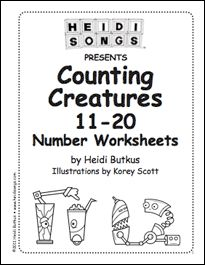 Great worksheets with cute monster/robot illustrations for practicing the numbers 11-20 from HeidiSongs!