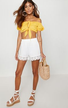White Crochet Trim Short. Head online and shop this season's range of shorts at PrettyLittleThing. Express delivery & student discount available.