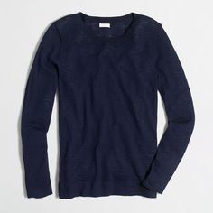 J.Crew Teddie sweater ($30) ❤ liked on Polyvore featuring tops, sweaters, jcrew, tops/outerwear, blue top, j crew sweaters, cotton sweaters, j crew tops and long sleeve sweater