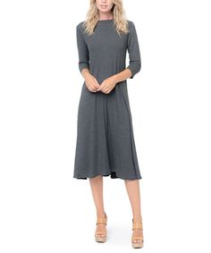 Look what I found on #zulily! Charcoal Three-Quarter Sleeve Midi Dress #zulilyfinds