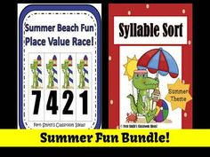 Summer Fun Bundled Center Games for Common Core $6.50 By www.FernSmithsClassroomIdeas.com