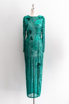 a4e26230f3 NEW LISTING 1980s Emerald Silk Beaded Gown by ShopGossamer on Etsy