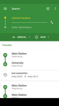 Signa Android UI Design Community — A public transport application (Öffi) redesign mockup by Johannes Homeier