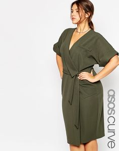 Buy ASOS CURVE Obi Wrap Dress With Multi Stitch at ASOS. Get the latest trends with ASOS now. Trendy Dresses, Plus Size Dresses, Plus Size Outfits, Casual Dresses, Asos Curve, Plus Size Clothing Sale, Curvy Fashion, Womens Fashion, Olive Dress