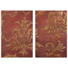 Red & Gold Relief Collection Wall Art (Set of 2) 35226