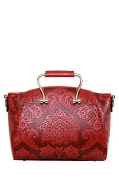 Floral Embossing Metal Tote Bag ==