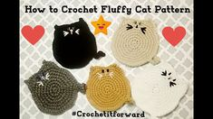 Cat Applique, Applique Patterns, Crochet Cat Pattern, Easy Crochet Patterns, Halloween Crochet, Halloween Cat, Yarn Crafts, Sewing Crafts, Knitting Projects