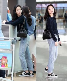Korean Airport Fashion, Korean Outfit Street Styles, Korean Fashion Trends, Korean Outfits, Korean Style, Blackpink Fashion, Kpop Fashion Outfits, Daily Fashion, Fashion Looks