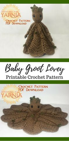 Amigurumi Baby Groot Lovely Security Blanket Crochet Pattern Printable $4.50