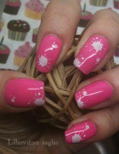 Konad M21, Splatter design, White/Pink