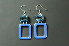 FUNKY 60'S STYLE LADIES BRILLIANT BLUE DOUBLE RECTANGLE EARRINGS(ZX1)