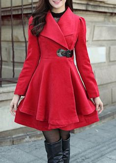 Women Long winter dress coat women coat Red Grey by miracelgirl16, $89.99