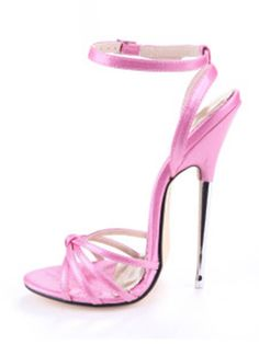 Pink Knotted Ankle Strap Patent Leather Women's Sexy Sandals