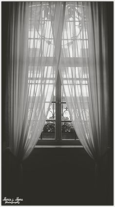 Don't lose the hope ~ #photography #window #black #white #b&w #dark #dramatic #grey #curtains #sheer #transparent #bad_days #giving_up #Frankfurt #Germany #Maria_Mora